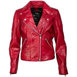Super Chaqueta de cuero rojo de Gipsy en forma de Cooler Bike Clase suave Napa con capucha rojo 36