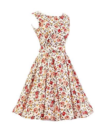 MISSMAO Femmes Hepburn Style Rockabilly Sans Manches Floral Style Halter Rétro 1950's Robe de Cocktail Beige & Rose Floral