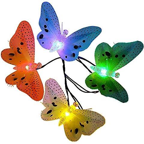 Qedertek Guirlande lumineuse solaire en forme de papillon multicolore 4.8M 20LED Lumière décorative applicable pour Noël, Jardin, Mariage, Patio, Terrasse (Multi-Couleur)