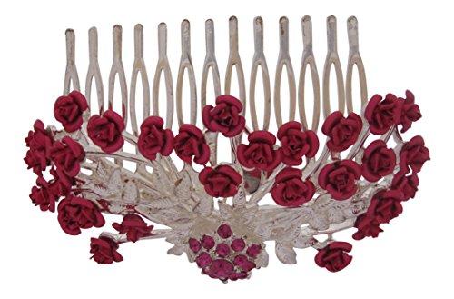 Pick A Gem Argent émail Fleur Rose accessoire pour cheveux Peigne mariée mariée Demoiselle d'honneur courses