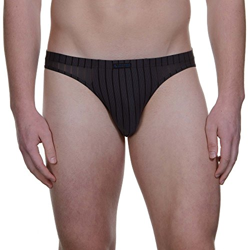 Bruno Banani Herren Slip Tanga Hallucination, Grau (Anthrazit Stripes 406), Large