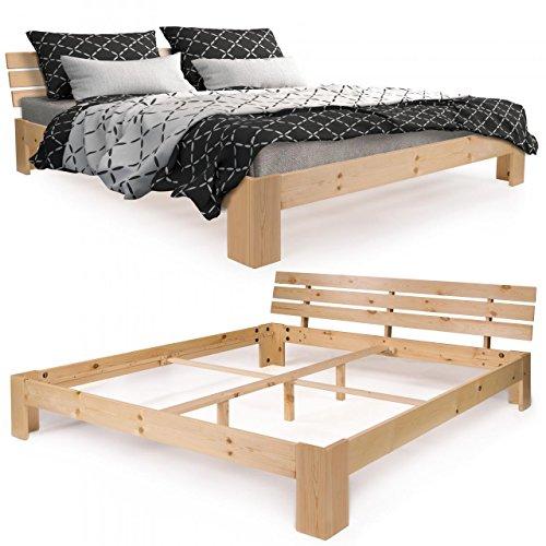 Homelux Massivholzbett Kiefer Doppelbett Balkenbett Bettgestell Bettrahmen 140 x 200 cm Natur (Massivholz Bett-rahmen)