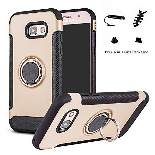 LFDZ Galaxy A5 2017 Custodia, Resistente TPU Case Design 360 Grado Rotazione Protective Custodia Cover per Samsung Galaxy A5 2017{Samsung Galaxy A5 2017}(con 4in1 Regalo impacchettato),Gold