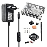 Aukru 9 capas caja de Refrigeración + Micro USB 5V 3000mA Cargador con interruptor + disipador de calor + mini ventilador + 4 tornillos y destornillador para Raspberry Pi 3 Modelo B