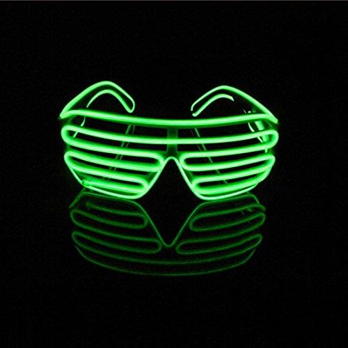 Lerway EL Leuchtbrille Party Club LED Brille Brillen für Clubbing, Raves Wild Party,Weihnachts Dekoration(Licht grün, Schwarz Rahmen)