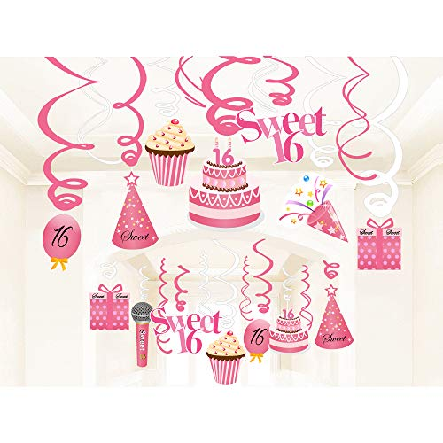 Sayala Sweet 16. Geburtstagsparty,30 Stücke Sweet Sixteen Hanging Swirls Sprial für 16. Geburtstagsfeier Happy 16. Geburtstag Partydekorationen