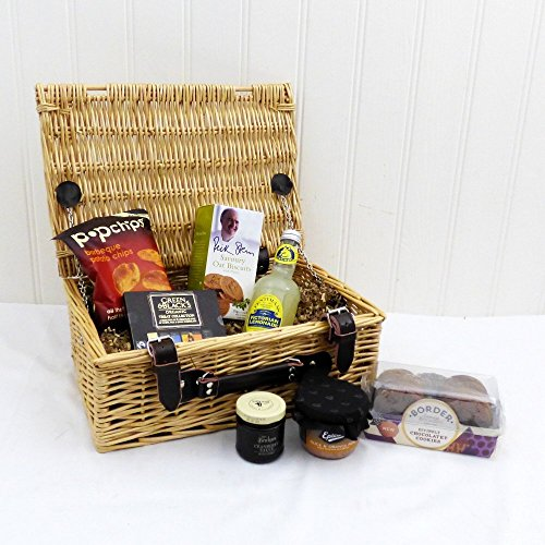 Gents Nibbles Wicker Gift Basket Hamper with 7 Items - Gift ideas for Father's Day, Birthday, Christmas, Anniversary and Corporate Gifts