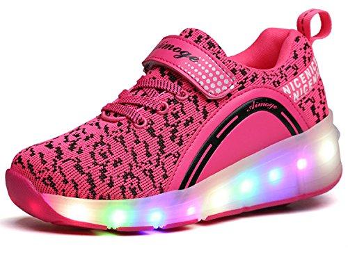 ECOTISH Para Skate Zapatos Deportivas Rojas con Luces LED Niña