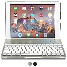 Funda con teclado para Apple iPad Air, COOPER NOTEKEE F86 Carcasa con teclado inalámbrico Bluetooth con retroiluminación LED de 7 colores - (Plata)