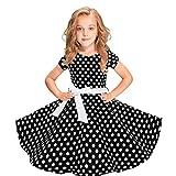 MRULIC Mädchen Abendkleid Vintage Kleid Party Kleid Kostüme Kleider Swing Rockabilly Kleider mit Halskette Größe 6-12 Jahre Kindergarten Uniform(3-Schwarz,130)