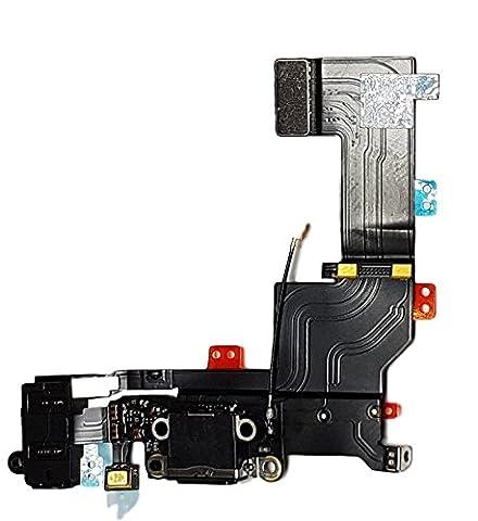 SMARTEX | Connecteur de charge Marque Smartex compatible avec iPhone 5S Noir – Câble nappe de rechange avec connecteur pour microphone, jack audio, bouton home et écouteurs