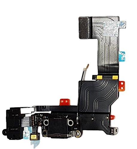 SMARTEX Ladebuchse mit Flex Kabel Kompatibel mit iPhone 5S Schwarz – Dock Connector mit integrierten Mikrofon, Homebutton, Lautsprecher Anschluss