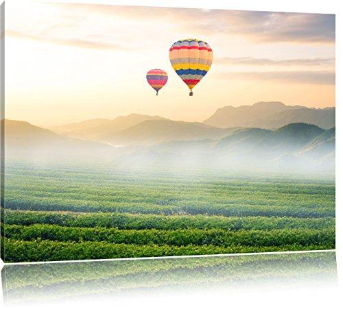Heißluftballon mit Landschaftsblick, Format: 100x70 auf Leinwand, XXL riesige Bilder fertig gerahmt mit Keilrahmen, Kunstdruck auf Wandbild mit Rahmen, günstiger als Gemälde oder Ölbild, kein Poster oder Plakat