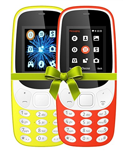 I KALL 4.57 cm (1.8 Inch) Mobile Phone Combo - K3310 (Yellow & Red) With feature of currency detector
