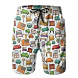 Men Swim Trunks Beach Shorts,Various Home Interior Elements Armchair Tableirror Design Elements Doodle Style L