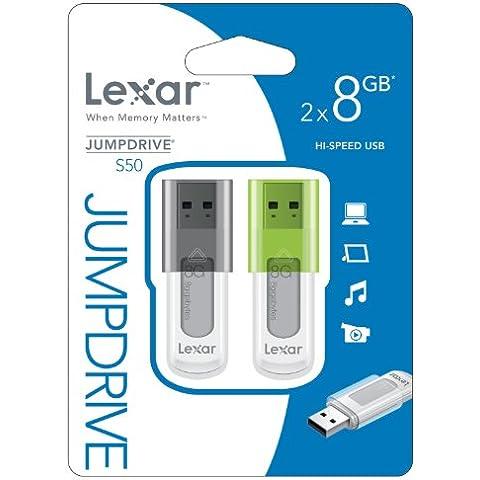 Lexar JumpDrive S50 Memoria Flash, USB 2.0, 8 GB, Confezione