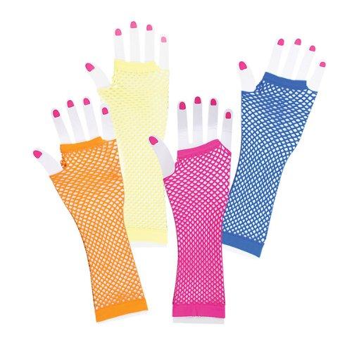Rhode Island Neuheiten 225353 Lange Fischnetz Handschuhe Neon Various - Farbe kann variieren