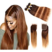 Ombre Virgin Hair Straight With Lace Closure, Remy Human Hair 2 Tone, Ombre Hair Extensions Weave Weft, #T4/30 Human Hair Bundles 8A Grade (14 16 18+12)