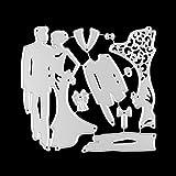 FNKDOR Hochzeit Stanzschablonen, Scrapbooking Stanzmaschine Schablonen Stanzformen Prägeschablonen, für Sizzix Big Shot und Andere Prägemaschine (A)