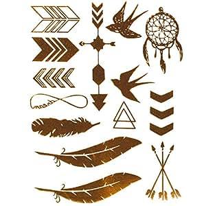 bijoux de peau carte de stickers tattoo tatoo autocollant temporaire oiseau effet metal. Black Bedroom Furniture Sets. Home Design Ideas