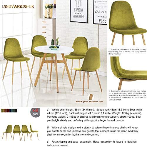 Bezug innovareds Samt Esszimmerstuhl 4-er Set Vintage Lounge Sessel Freizeit wood-imitation Metall Beine Hocker grün -