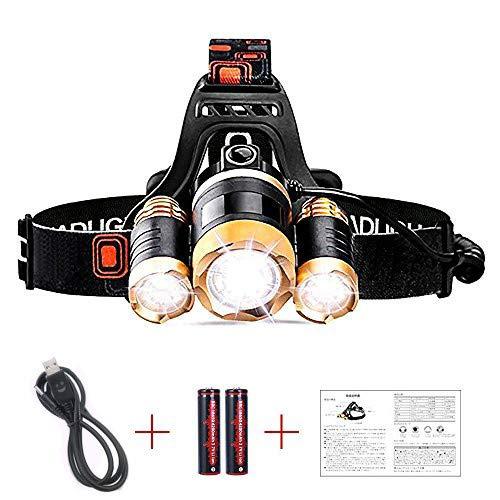 JUDYelc LED Head Light-Proiettore professionale a LED, 4 modalità Bright Headlights con batteria ricaricabile Alimentato a casco impermeabile Lights for Camping Hiking Outdoor Sports (Giallo T3B)