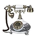 Metall-Harz Vintage Telefon,Wählscheibe auf Europäisch Klassische Retro-Antik Dekoration Ornament Handwerk Corded Festnetz Telefon-B