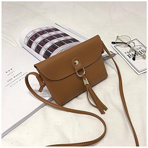 Sacchetto mobile nappa Sacchetto Mini, Longra Donna Sacchetto di cuoio della borsa di cuoio dell'unità di elaborazione mini sacchetto Marrone