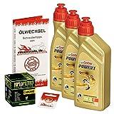 Ölwechselset Castrol Power1 10W-40 Öl + HiFlo Chrom Ölfilter für VN 1500 Classic/Tourer, Bj. 96-99 (Typ VNT50D VNT50G); Motoröl + Filter + Dichtring