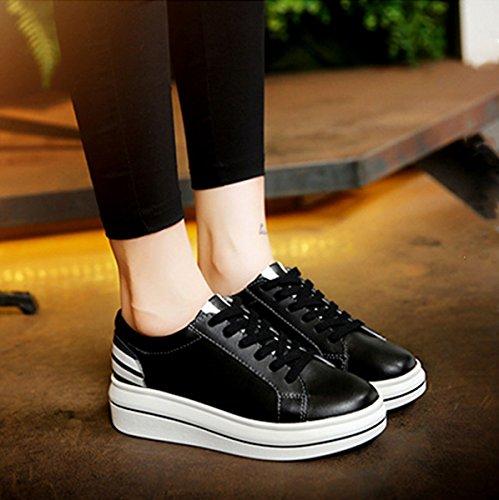 Damen Schnürhalbschuhe mit Gummi Sohlen Klassische Leichtgewicht Atmungsaktive Bequeme Flache Damen Sneaker Schwarz
