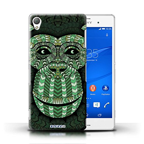 Coque en plastique pour Sony Xperia Z3 Collection Motif Animaux Aztec - Loup-Sépia Singe-Vert