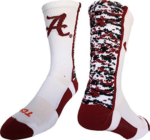Alabama Crimson Tide Digital Camo Crew Socken, Jungen damen Mädchen Herren, White/Crimson/Black Alabama Crimson Tide Camo