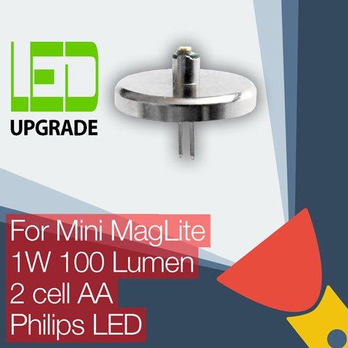 Maglite Led Conversion (LED-Leuchtmittel für Mini Maglite - Umbau/Upgrade-Birne für die Taschenlampe, geeignet für Mini Maglite mit 2Stück AA-Knopfzellenbatterien)