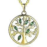JO WISDOM Halskette Baum Des Lebens,kette anhaenger silber 925 baum des lebens Anhänger Halskette,Damen Schmuck,kette: 45-50CM (vergoldet,Smaragd)
