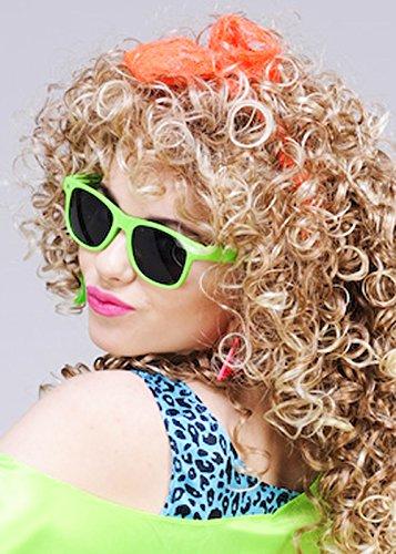 80s Neon Orange Fancy Dress Lace Head Scarf