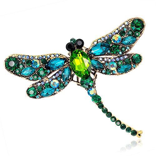(Damen Mädchen exquisite Libelle Brosche Strass Dekoration Pin für Hochzeitstag Parteien)