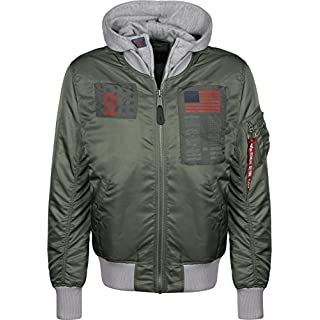 Alpha Industries MA-1 D-Tec Blood Chit Jacke Grün/Grau L