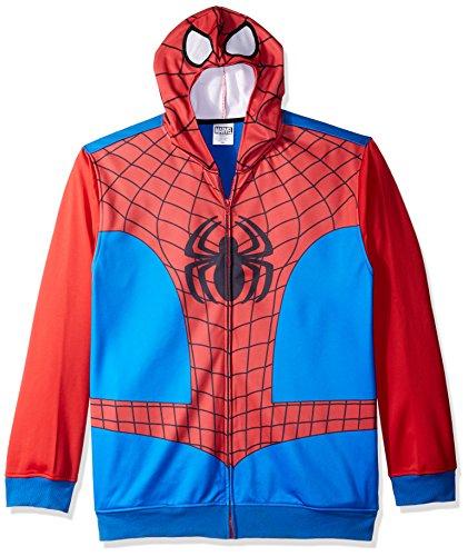Marvel Herren Spiderman Character Zip Front Hoodie Kapuzenpulli, rot/blau, XX-Large -