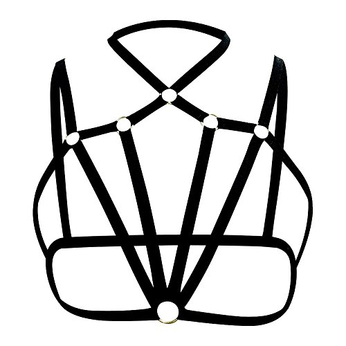 Women Sexy Black Alluring Harness Bra Elastic Cage Bra Strappy Hollow Out Bra Bustier (L)