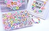 JIAHG 500 PCS Stringing Perlen Spielzeug Kinder Bunte Perlen Set Pädagogisches Spielzeug DIY Perlenschmuck für Mädchen zum Basteln von Schmuck Ketten Armbändern Schlüsselanhänger