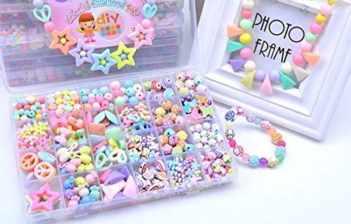 JIAHG 500 PCS Stringing Perlen Spielzeug Kinder Bunte Perlen Set Pädagogisches Spielzeug DIY...
