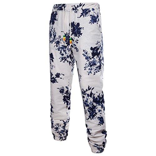 GreatestPAK Pants Baumwolle Herren Hosen Blumen Hosen Harem Sweatpants Slacks Baggy Comfy Hosen Casual Jogger Sportwear Tailored Cord