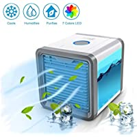 Ventilateur Table USB Climatiseur Portable Mini Muitifonction 3 EN 1 Puissant 7 LED Couleurs pour Maison Bureau Voiture Chambre Couche