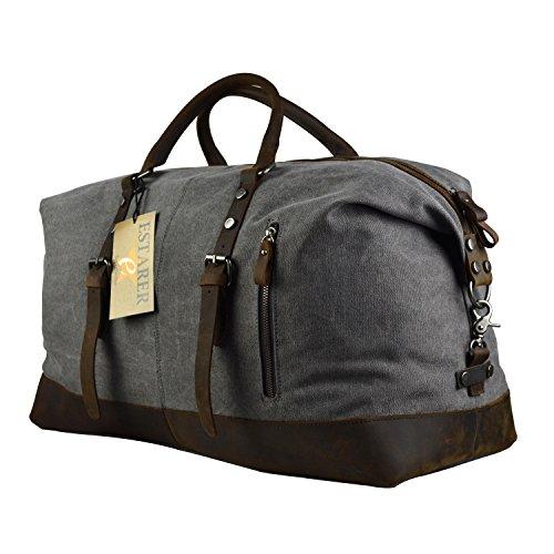 Estarer Weekender Tasche Handgepäck Reisetsache aus Canvas Segeltuch Vintage 50 Liter Updated -Grau Grau