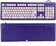 Tastiera rosa/nera/viola, tastiera ergonomica ultrasottile cablata USB, tastiera da gioco simpatico cartone an