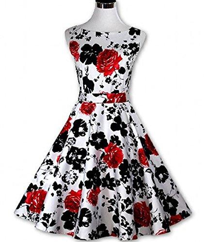 Babyonline- Damen Elegant 50er Ärmellos rockabilly kleid mit Bulmenmuster Knielang Schwarz S~2XL Rot