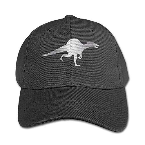Wdskbg Big Boys' Spinosaurus Dinosaur Platinum Style Baseball Snapback Cap Black Unisex10