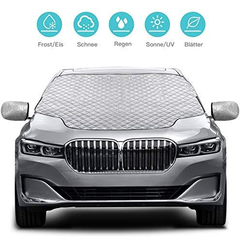Karvipark Auto Frontscheibenabdeckung, Magnetisch Windschutzscheibe Abdeckung mit Seitenspiegelabdeckung,Frontscheibe für Winter Schneeabdeckung und Scheibenwischer UV-Schutz-SUV-Modell (147×120cm)