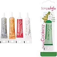 ScrapCooking - 4 Icing Stylos à Pâtisserie : Or, Choco, Blanc & Rouge - Crayons Alimentaires Comestibles Décoratifs…