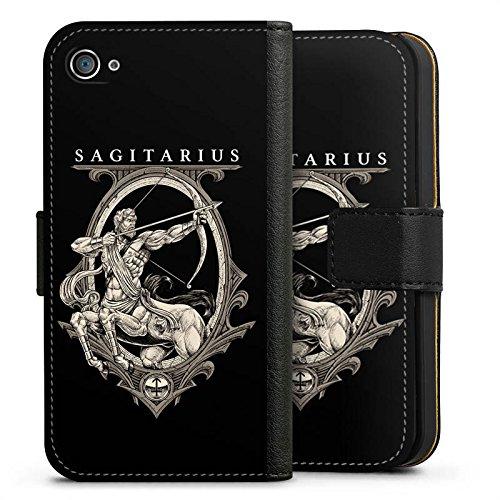 Apple iPhone X Silikon Hülle Case Schutzhülle Schütze Sternzeichen Astrologie Sideflip Tasche schwarz
